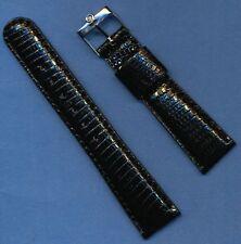 Vintage steel Omega Buckle and New Black 18mm Custom Genuine Lizard Strap Band