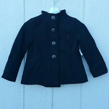 NWT Old Navy Girl's Size XS Black Wool Peplum Pleat Pea Coat Bell Shape Button