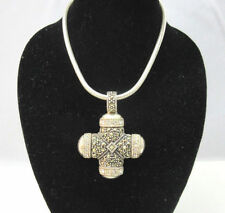 Sterling Silver Celtic Cross Marcasite & Rhinestone Necklace Thailand *