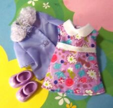 Kelly Small Polymer Doll Clothes *Lavender Flower Sleeveless Dress Jacket Shoes*