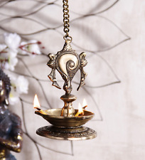 Hindu Temple Traditional Shankh Hanging Oil Lamp Brass Shank Diya Unique Decor