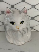 Vintage Pottery Ceramic Cat Planter White Ceramic Cat Vase Painted