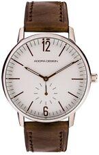 Reloj de Hombre Pulsera Analógico Acero Inoxidable Plateado con Cuero Braun