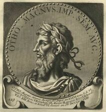 Rome Portrait Empereur Otto I Otho 1 Roma - Gravure originale 18ème