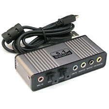 USB 6 Channel 5.1 External Sound Audio Card Adapter PC Laptop Notebook