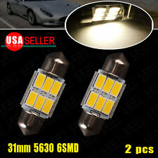 2 PCS Warm White 31MM Festoon High Power 5630 6-SMD Map Dome Door Interior Light