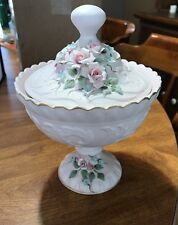 Beautiful Lefton Pink Covered Candy Dish with Applied Flowers Original Tag #1037