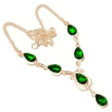 Faceted Chrome Diopside Pear Gemstone silver plated Handmade Designer Necklace