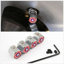 4 X Stainless Steel Captain America Shield Pattern Car Tire Anti-Theft Dust Caps