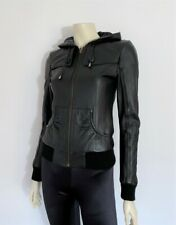 BARDOT BLACK LEATHER FITTED HOODED BOMBER JACKET / SZ 8 / ALSO SZ 6