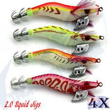 2.0 Egi Squid Jigs Jags Fishing Lures Calamari Arrow Night Jap Jig #2 Glow Tail
