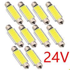 10Pcs DC 24V Festoon LED 41mm C5W Dome Car COB Roof Map Lamp Reading Light Bulbs