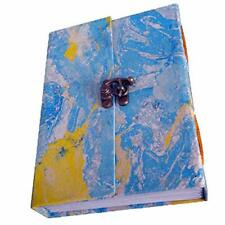 Handmade Multi-Color Marvel Paper Cover With Lock Notebook Diary Pack Of 2