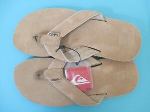 Quiksilver Men's Suede 3-Point Flip-Flop Tan/Solid Size 10.0 NEW ARCH SUPPORT