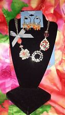 SIMPLY VERA WANG NWT $52 women's necklace earrings set orange coral red charms