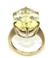 Ladies/women's 9carat/9ct Yellow Gold Large Green Peridot Stone ring size P