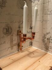 copper pipe double candle wall sconce candlestick