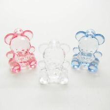 6 x Cute Teddy Bear Charms Transparent Acrylic Baby Jewellery Dummy Clips Making