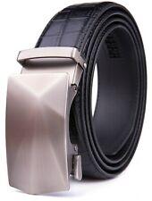 Men's Ratchet  Belts with Automatic Buckle Leather Dress Belt Adjustable