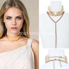 Bling Wide Full Metal Sleek Mirror Neck Choker Cuff Collar Necklace Long Chain