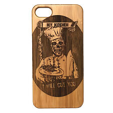 Chef Cook Engraved on BAMBOO Case made for iPhone 7 phones Durable Wood Cover