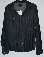 NWT Joe Boxer Bohemian Button Down Collared shirt, Junior Large, Black Shiney