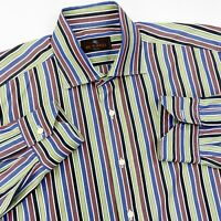 ETRO Shirt 41 Mens Large L Dress Shirt Striped Long Sleeve Button Front Italy