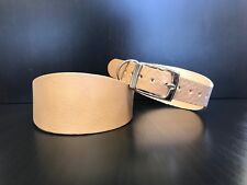 Large Real Leather Dog Collar Greyhound Lurcher Whippet Saluki BEIGE