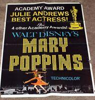 Walt Disney Mary Poppins 1964 Julie Andrews Academy Award Oscar Movie Poster WDP