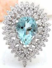 4.15 Carat Natural Aquamarine 18K Solid White Gold Diamond Ring
