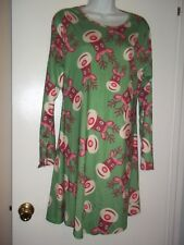 Christmas Dress / Tunic Size~XXL~Green/Red Reindeer Print Long Sleeve New