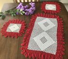 %F0%9F%A7%B6Vintage+3+Hand+Crocheted+Doilies+White+and+Red+Table+Top+Coverings
