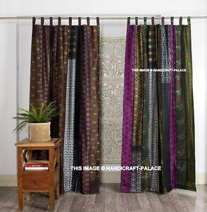 Indian Old Sari Brown Color Curtain Door Drape Window Decor Silk Saree Curtain