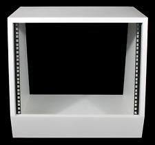 "White 8u angled 19"" inch wooden rack unit/case/cabinet for studio/DJ/recording"