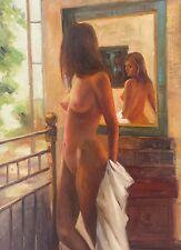 Dipinto Olio su Tela - 50x70 cm - Nudo - Quadro Donna Dama Ritratto