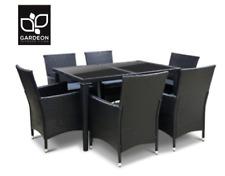 Gardeon Outdoor Furniture 7pcs Dining Set Wicker Rattan Lounge Setting Black