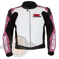 SUZUKI 1078 Women's Girl Leather Motorcycle Motorbike Cowhide Pink Biker Jacket