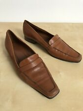 Zara Mid Brown Leather Loafer Shoes Uk 8 Eur 41 Rubber Sole Used