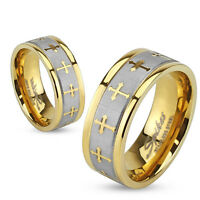 Stainless Steel Celtic Cross Gold IP Brushed Center Wedding Band Mens Ring 8mm