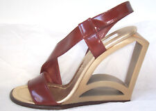 MARC JACOBS Brown Leather Gold Cut Out Wedge Sandals Shoes 39.5