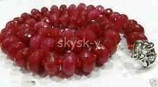 Long 72 inches 5x8mm Faceted Brazilian Red Ruby Gemstone Abacus Beads Necklaces