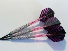 28g Nodor PINK PRISM 85% Tungsten Darts Set, Winmau Pink Prism Flights & Stems