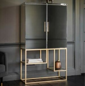 Mirror Bar Cabinet With Gold Steel Base/Cocktail Bar Cabinet Mirrored