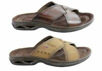 Mens Pegada Jefferson Leather Comfortable Slide Sandals Made In Brazil - ModeSho