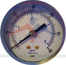 "Air Compressor Pressure/Hydraulic Gauge 2"" Face Back Mount 1/8"" NPT 0-60 PSI"