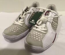 NIB Lacoste Womens Tennis Court Shoes Repel  ~ Sz 5.5 ~ White / Gray Purple Trim