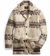 f36f1b6c1  1400 RRL Ralph Lauren Rib Knit Wool Blend Ranch Cardigan-MEN- L