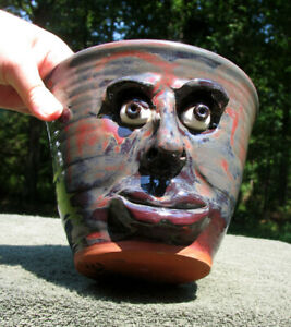 Ceramic FACE flower PLANTER with drainage hole plant pot JUG pottery stoneware