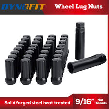 32PC 9/16'' Black Truck 7 Spline Locking Wheel Lug Nuts 2 Key RAM Ford F250 F350