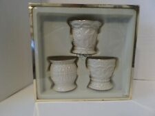 Vintage Lenox Set of 3 Beaded Votives Candle Holders White Gold Unused in Box